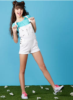Girls 7-16 White Shortalls - 1621038340040