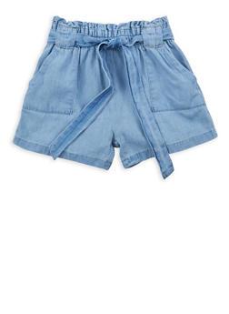 Girls 7-16 Denim Paperbag Waist Shorts - 1621038340043