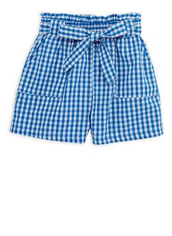 Girls 4T-16 Gingham Paperbag Waist Shorts - 1621038340044