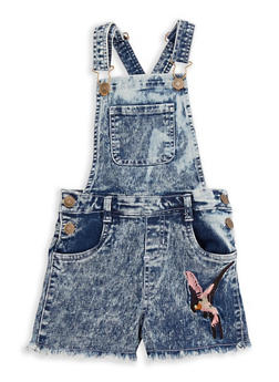 Girls 7-16 Embroidered Denim Shortalls - 1621038340061
