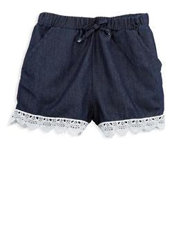 Girls 7-16 Denim Crochet Trim Shorts - 1621038340074
