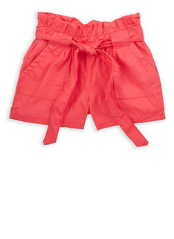 Girls 7-16 Paperbag Waist Shorts - 1621038340076