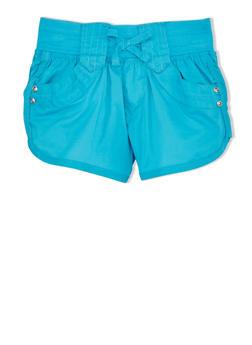 Girls 7-12 Shorts with Ribbed Drawstring Waist - 1621038341002