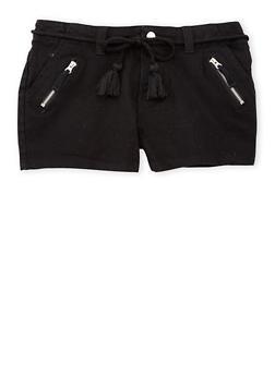 Girls 7-16 Solid Denim Shorts with Rope Belt - BLACK - 1621051060017