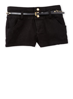 Girls 7-16 Three Button Casual Shorts with Faux Leather Chain Link Belt - BLACK - 1621051060018