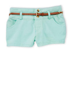 Girls 7-16 Three Button Casual Shorts with Faux Leather Chain Link Belt - MINT - 1621051060018