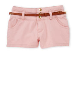 Girls 7-16 Three Button Casual Shorts with Faux Leather Chain Link Belt - BLUSH - 1621051060018