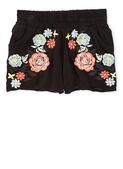 Girls 7-16 Floral Embroidered Crinkle Knit Smock Waist Shorts - BLACK - 1621051060019