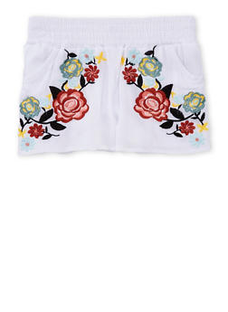 Girls 7-16 Floral Embroidered Crinkle Knit Smock Waist Shorts - 1621051060019