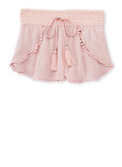 Girls 7-16 Linen Shorts with Crochet Trim and Waistband Detail - BLUSH - 1621051060020