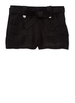 Girls 7-16 Solid Tab Waist Shorts with Sash Belt - BLACK - 1621051060021