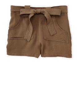 Girls 7-16 Solid Tab Waist Shorts with Sash Belt - OLIVE - 1621051060021