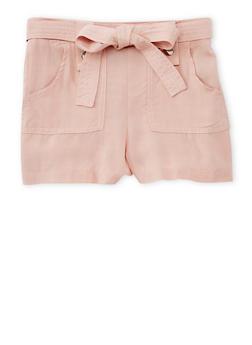 Girls 7-16 Solid Tab Waist Shorts with Sash Belt - BLUSH - 1621051060021
