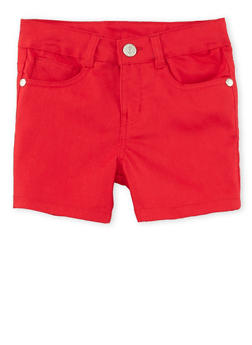 Girls 7-16 Solid Twill Shorts - RED - 1621054730009