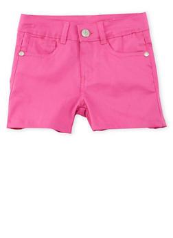 Girls 7-16 Solid Twill Shorts - FUCHSIA - 1621054730009