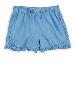 Girls 7-16 Ruffled Denim Shorts - 1621054730017