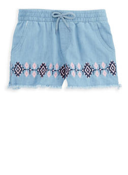 Girls 7-16 Embroidered Chambray Shorts - 1621054730019