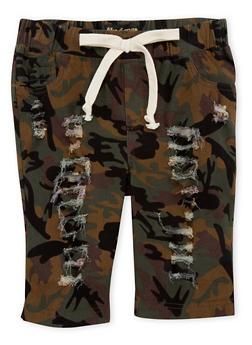 Girls 7-16 Distressed Camouflage Bermuda Shorts - 1621056570013