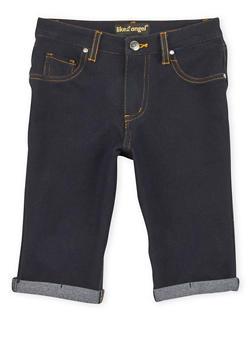 Girls 7-16 Denim Knit Bermuda Shorts with Cuffs - 1621056570417
