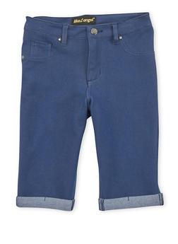Girls 7-16 Solid Denim Knit Bermuda Shorts - 1621056570418