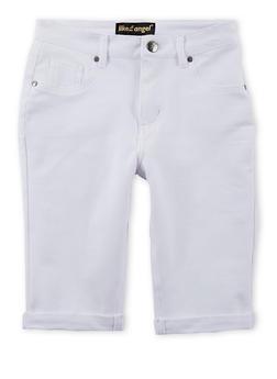Girls 7-16 Solid Denim Knit Bermuda Shorts - 1621056570419