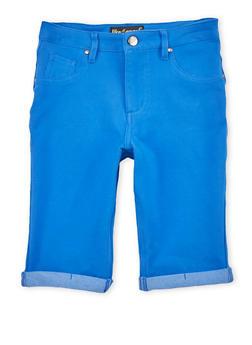 Girls 7-16 Solid Denim Knit Bermuda Shorts - 1621056570422
