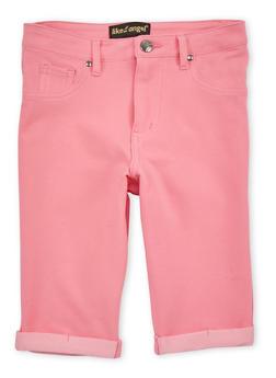 Girls 7-16 Cuffed Denim Knit Bermuda Shorts - 1621056570424