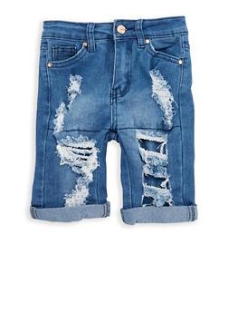 Girls 7-16 Destroyed Denim Bermuda Shorts - 1621056720003