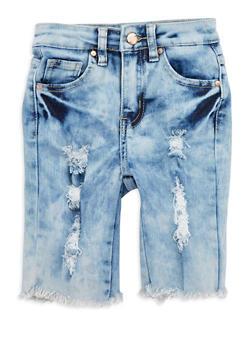 Girls 7-16 Distressed Acid Wash Bermuda Shorts - 1621056720004