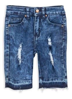 Girls 7-16 Distressed Raw Hem Bermuda Shorts - 1621056720007