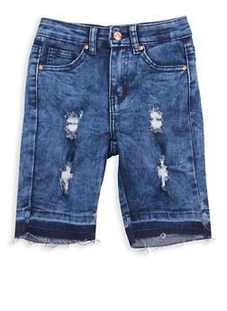 Girls 7-16 Acid Wash Denim Bermuda Shorts - 1621056720008