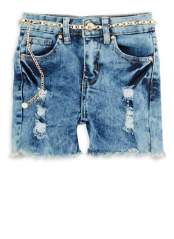 Girls 7-16 Belted Frayed Hem Denim Shorts - 1621056720011