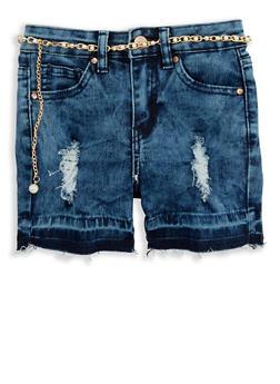 Girls 7-16 Distressed Raw Hem Shorts with Faux Pearl Belt - 1621056720017