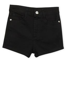 Girls 7-16 Black Twill Shorts - 1621060990014