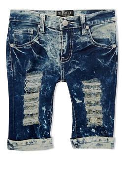 Girls 7-16 Distressed Acid Wash Denim Bermuda Shorts - 1621063400004