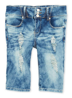 Girls 7-16 Distressed Cloud Wash Denim Bermuda Shorts - 1621063400018