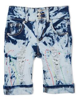 Girls 7-16 Distressed Paint Splattered Denim Bermuda Shorts - 1621063400021