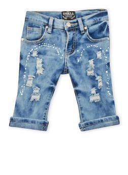 Girls 7-16 Paint Splattered Distressed Denim Shorts - 1621063400022