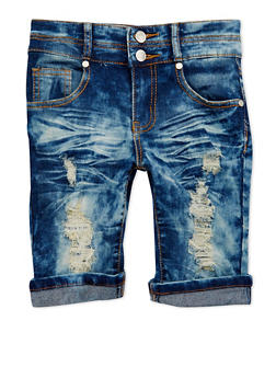 Girls 7-16 Distressed Acid Wash Denim Bermuda Shorts - 1621063400023