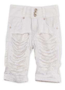 Girls 7-16 White Three Button Destroyed Bermuda Shorts - 1621063400028