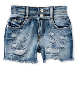 Girls 7-16 Two Button Frayed Denim Shorts - 1621063400037