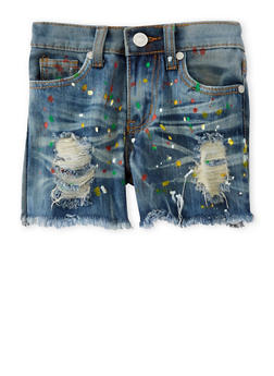 Girls 7-16 Distressed Paint Splatter Denim Shorts - 1621063400039