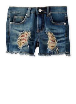 Girls 7-16 Americana Lined Denim Shorts - 1621063400040