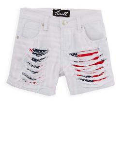 Girls 7-16 Americana Lined Denim Shorts - 1621063400044
