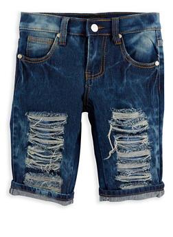 Girls 7-16 Patch and Repair Denim Bermuda Shorts - 1621063400051