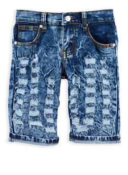 Girls 7-16 Distressed Acid Wash Bermuda Shorts - 1621063400068