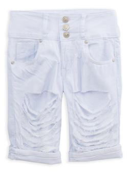Girls 7-16 White Patch and Repair Bermuda Shorts - 1621063400072