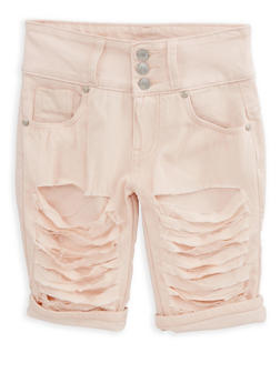 Girls 7-16 Blush Patch and Repair Bermuda Shorts - 1621063400074