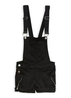 Girls 7-16 Zipper Accent Hyperstretch Denim Shortalls - 1621063400082