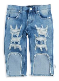 Girls 7-16 Destroyed Capri Jeans - 1621063400085